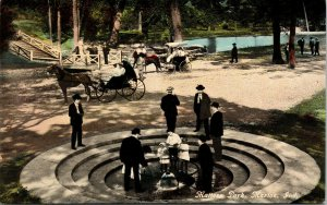 Postcard IN Marion Dressed-Up Men & Women in Matters Park Buggies C.1910 F2