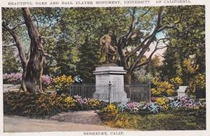 BERKELEY, California, 1910-20s; Beautiful Oaks and Ball Player Monument, Univ...