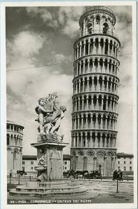 Italy - Pisa, Campanile, Fountain of Putti, Leaning Tower    *RPPC