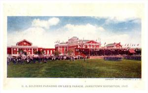 7968  Jamestown Exposition US Soldiers Parading on Lee's Parade