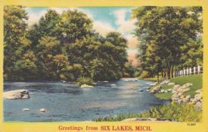 Michigan Greetings From Six Lakes 1952