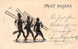 Embossed: Prosit Neujahr! New Year! Chimney Sweepers 1902
