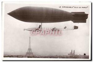 Old Postcard Aviation Zeppelin Airship City of Paris