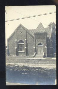 RPPC POLO ILLINOIS BRETHERN CHURCH BUILDING VINTAGE REAL PHOTO POSTCARD