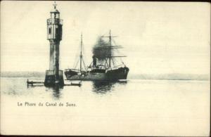 Lighthouse Le Phare Suez Canal - Cargo Ship c1905 Postcard