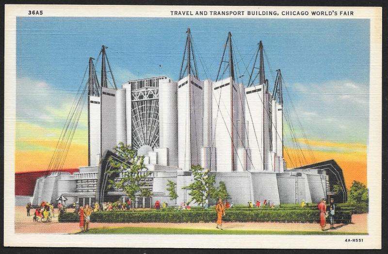 Chicago Worlds Fair 1933-1934 Travel/Transport Building Chicago Unused c1934