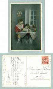 Sweden.1918. Mother Reading For Daughter. Postal Used. See Description