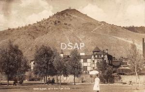Colorado CO Postcard Real Photo RPPC 1915 SALIDA Tenderfoot Mountain HOTEL Girl