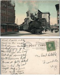 N.Y. CENTRAL TRAIN SYRACUSE STREETS N.Y. 1910 ANTIQUE POSTCARD railroad railway