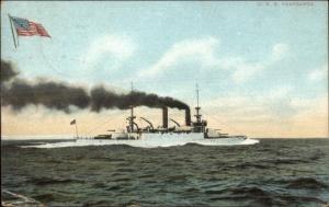 US Navy Battleship USS Brooklyn E 7349 c1905 Postcard