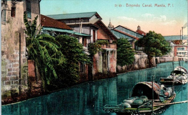 MANILA, Philippines    View on BINONDO CANAL BOATS   c1910s    Postcard