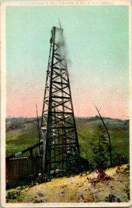 Vtg Postale 1910s G & S Photochrome - Gusher dans Le Huile Région De