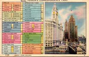 Humour Busy Person's Correspondence Card Chicago Illinois 1948