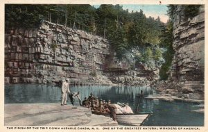 Ausable Chasm, NY, Finish of the Trip, White Border Vintage Postcard g1939