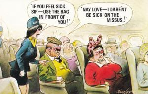 Air Hostess Helping Flight Sickness Nausea on Plane 1970s Comic Humour Postcard