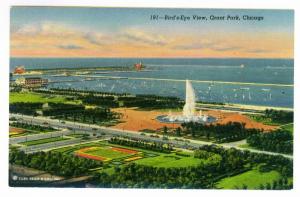 Bird's Eye View, Grant Park, Chicago, unused Linen Curteich Postcard