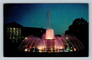 West Lafayette IN- Indiana, Purdue University, Fountain, Chrome c1964 Postcard