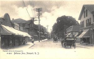 Newport RI Bellevue Avenue Store fronts Horse & Wagons Postcard