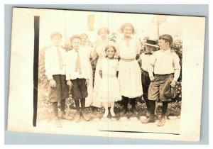 Vintage 1910's RPPC Postcard - Group Photo of Children in Suburbia