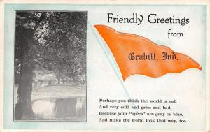 Friendly Greetings From Grabill Indiana~Seeing Through Blue Specs~1922 Pennant