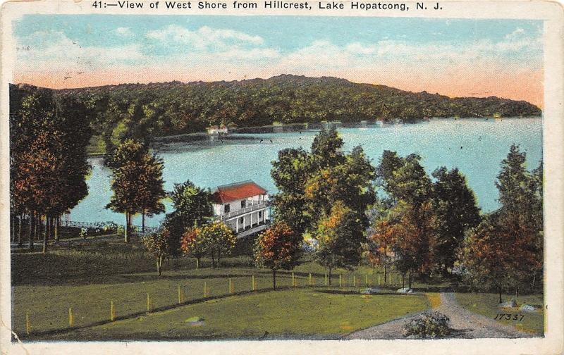 Lake Hopatcong New Jersey~West Shore from Hillcrest~House near Water's Edge~1924