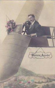 Bonne Annee Man In Old Mono Plane 1912