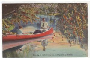 Fishing Canoe Lake Catherine Hot Springs Arkansas linen postcard