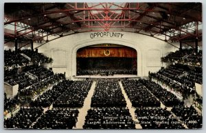 Wichita Kansas~Orchestra on Stage at The Forum~Huge Crowd~Opportunity~c1910 PC