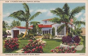 A Florida Home In A Tropical Setting Typical Of Many New Homes At Miami Beach...