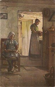 G.Vermehren. Mother and daughter. Schularbeit Fine painting, vintage German PC