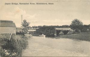 Middleboro Massachusetts~Japan Bridge~Nemasket River~Boat~1910 Postcard