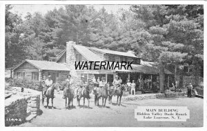 LAKE LUZERNE NEW YORK~DUDE RANCH~LOT OF 4 POSTCARDS-BUILDING-HORSES-STAGECOACH