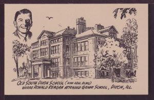 Ronald Reagan's School Dixon IL Post Card 3475