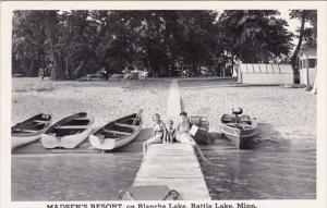 Madsens Resort On Blanche Lake Battle Lake Minnesota Real Photo 1948