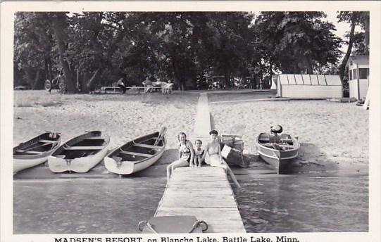 Madsens Resort On Blanche Lake Battle Lake Minnesota Real Photo 1948