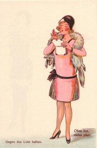 G30/ German Comic HTL Hold-To-Light  Postcard pre40s Pretty Woman 20