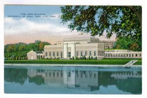 Fine Arts Building, University of Iowa, linen Post Card PPC