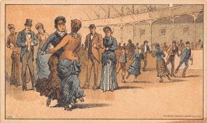 Red Oak IA Powers & Stoddard Saxony~Hawkeye Yarns~Roller Skating~Trade Card 1870