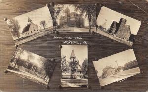 Sanborn Iowa~6 Scenes~Train Depot-3 Churches-Library-School~1915 Real Photo PC