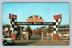 Indianapolis IN- Indiana, Motor Speedway, Main Gate, Chrome Postcard
