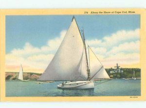 Pre-chrome cape cod SAILBOAT Published In Cape Cod - South Yarmouth MA AF5432