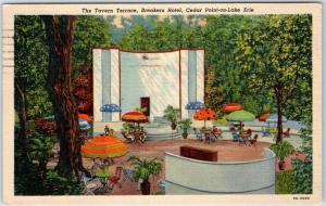 Cedar Point-on-Lake Erie, Ohio Postcard Tavern Terrace, BREAKERS HOTEL Linen