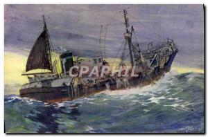 Postcard Old Fishing Boat large fishing trawler picking up his trawl Sebille