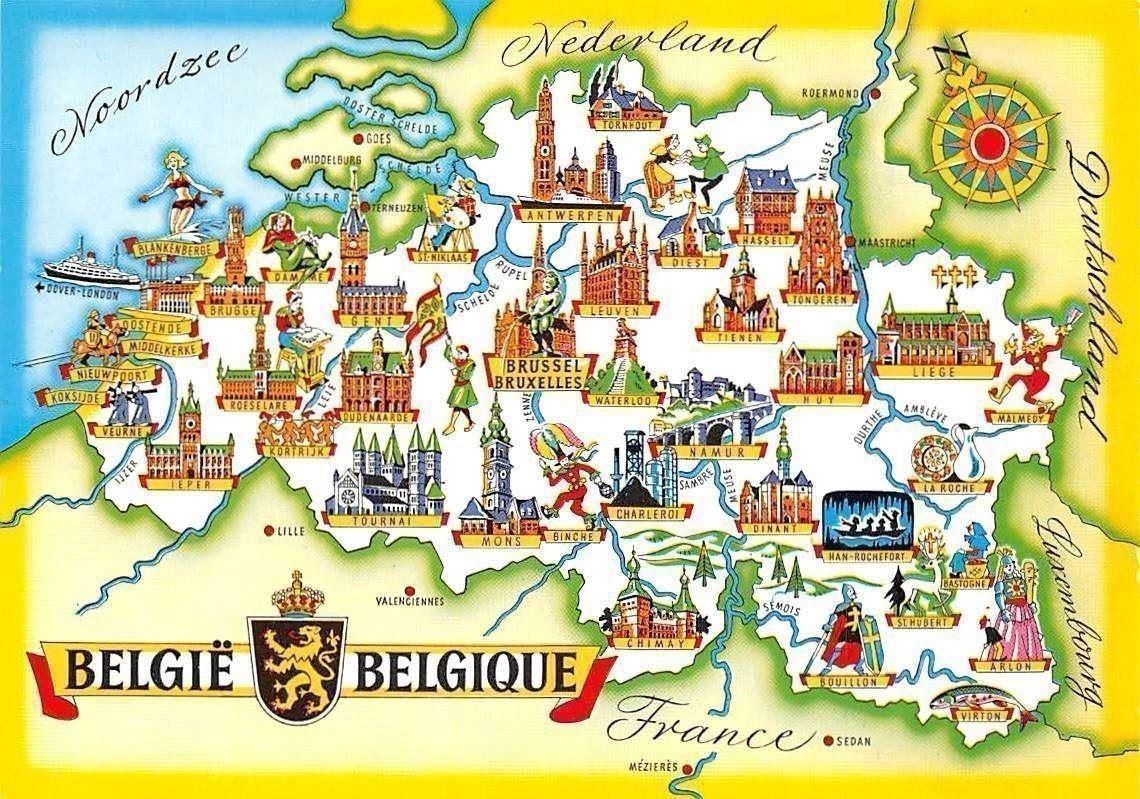 Carte Belgique Mons.Belgium Map Belgie Nordzee Waterloo Namur Dinant Charlerot