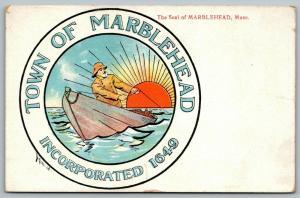Marblehead Massachusetts~Town Seal~Sea Salt Fisherman~Sunrise~Artist Bixbee~1910