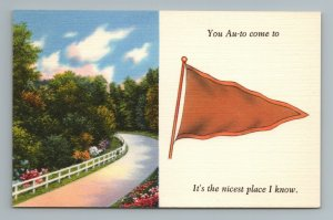 You Au to Come to It's the Nicest Place I Know, Flag Pennant Postcard