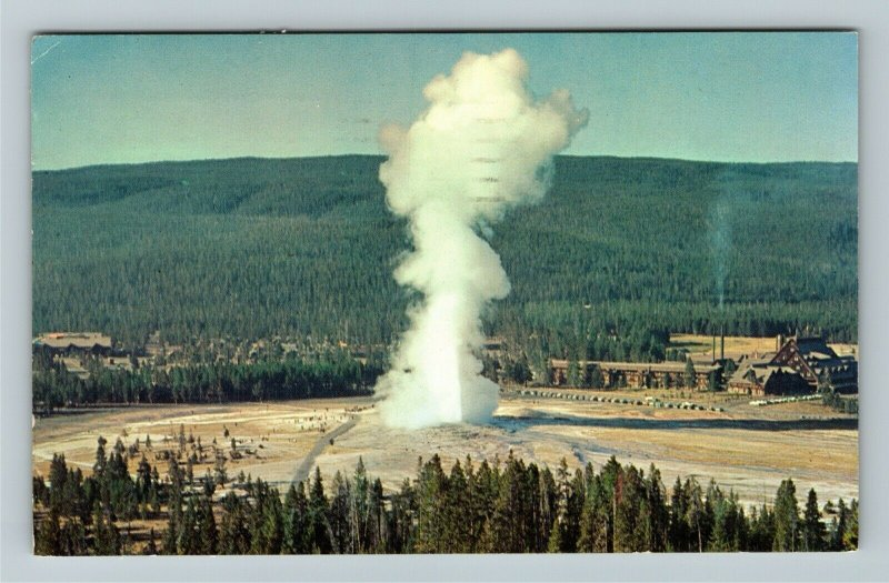 Yellowstone WY- Wyoming, Old Faithful at Observation Point Chrome c1963Postcard