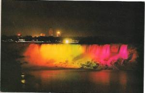 US Niagara Falls, New York. Illuminated Horseshoe Falls, Canada