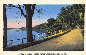 Greenville Michigan~For A Good Time Drive By Baldwin Lake~Linen Greetings 1940s