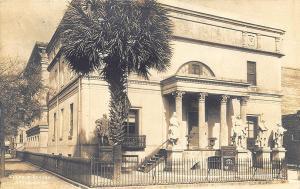 Savannah GA Telfair Academy Statues Iron Fence, Foltz Studio RPPC Postcard